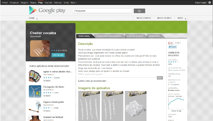 "Um ""print screen"" do site do Google Play"